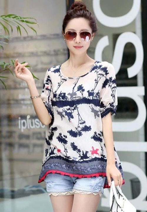 Relaxing Tree Print Chiffon Blouse