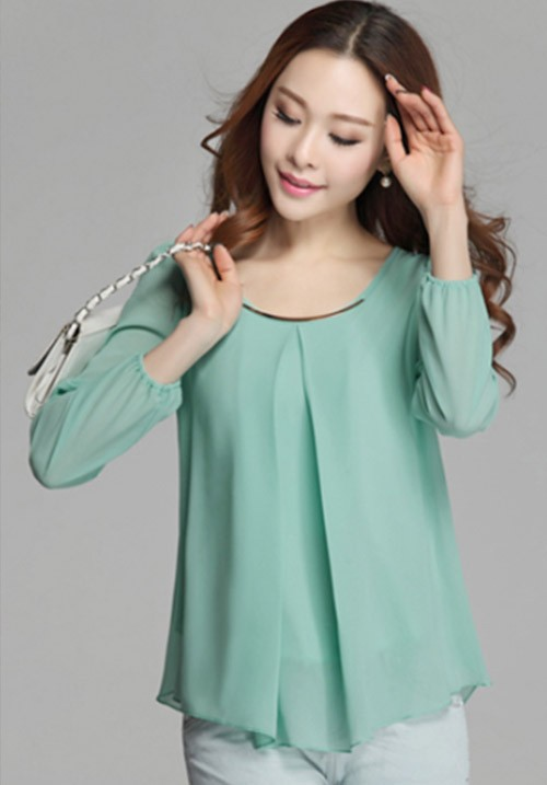 Long Sleeve Blouse in Cool Green Chiffon