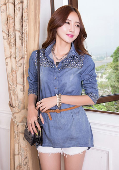 Studded Denim Long Shirt