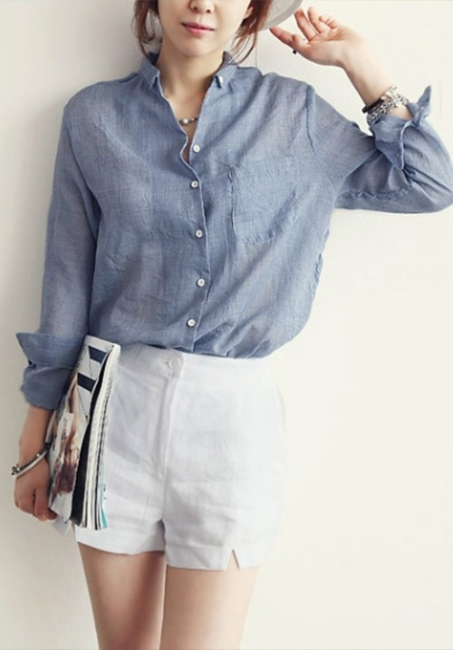 Loose Linen Long Sleeved Cotton Blouse
