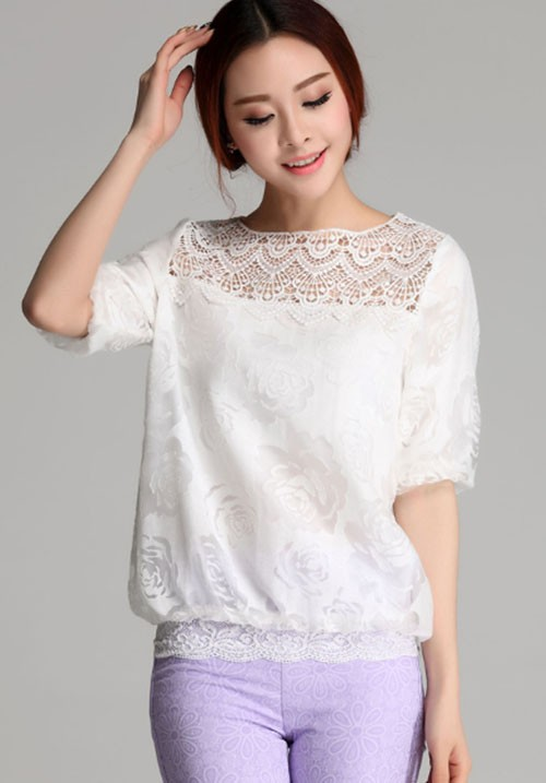 Everyday Classy White Laced Blouse