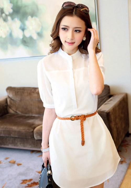 Elegant White Shirt Dress