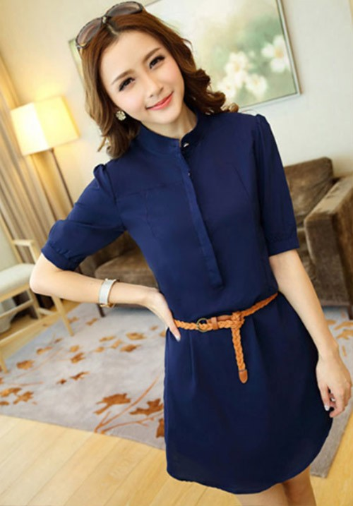 Elegant Blue Shirt Dress