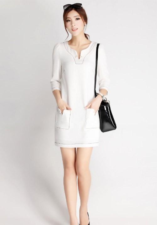 Polished White Dress with Pocket