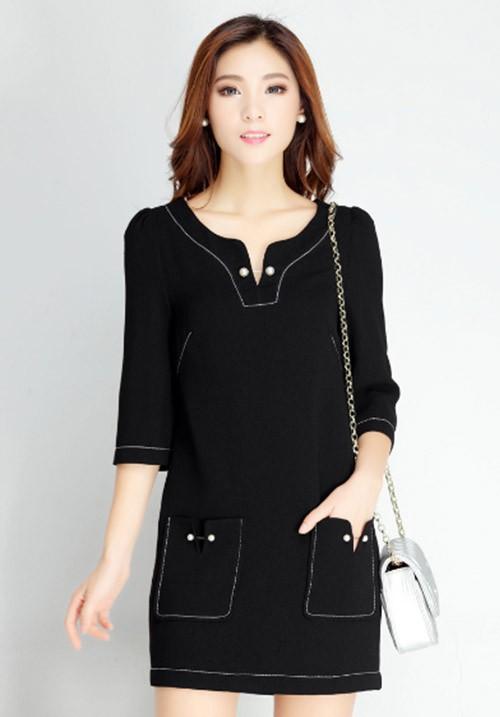 Polished Black Dress with Pocket