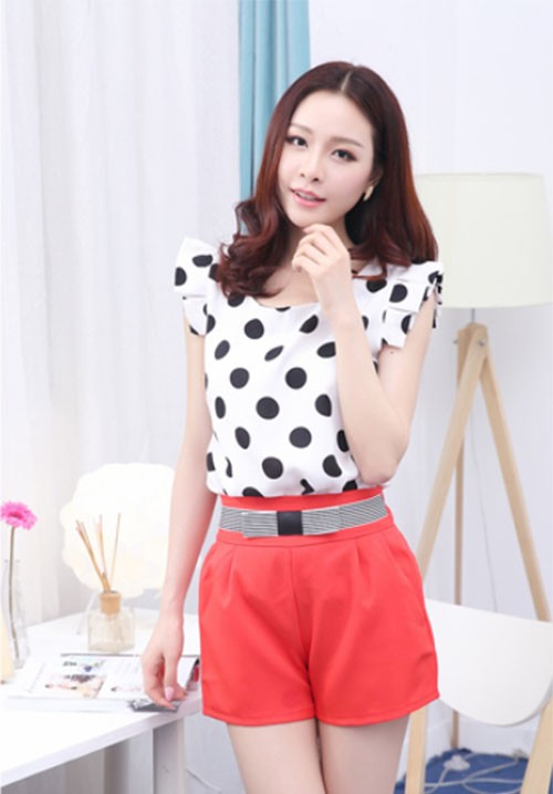 Elegant Short Sleeved Polka Tee
