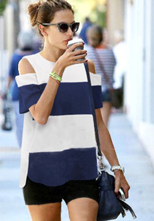 Blue Striped Sexy Shoulder Tee
