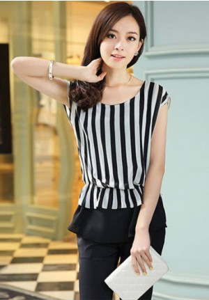 Classy Black & White Striped Short Sleeve Chiffon Blouse