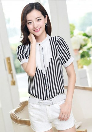 Sweet Striped Chiffon Blouse