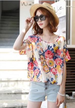 Floral Blooms Round Neck Loose Chiffon Blouse