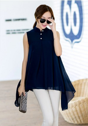 Tropical Cool Blue Sleeveless Chiffon Blouse