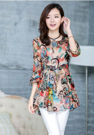 Colorful Nature Long Chiffon Blouse