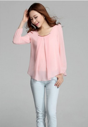 Long Sleeve Blouse in Cool Pink Chiffon