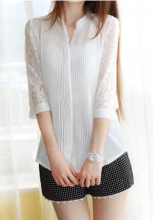 Laced Sleeves Sophisticated Blouse