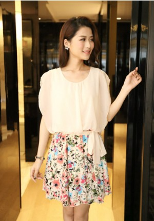 Floral Tie Waist Chiffon Dress