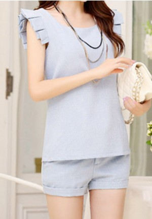 Sweet Wing Blue Sleeves Shirt and Shorts Set