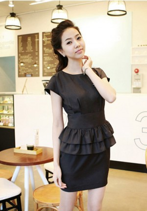 Tailored Black Flounced Office Dress Set