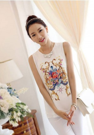 Sleeveless Chiffon Retro Print with Double Leaf Hem Shirt