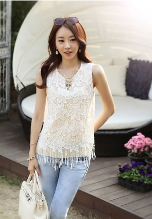 Hollow Lace Loose Chiffon Sleeveless Shirt
