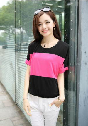 Pink Mid Stripe Tee