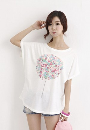 Japanese Pink & Blue Tree Painting Tee