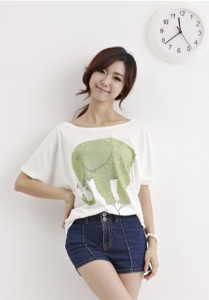 Japanese Green Elephant Painting Tee