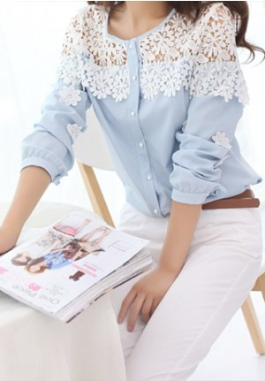 Fun Flower Lace on Blue Chiffon Blouse