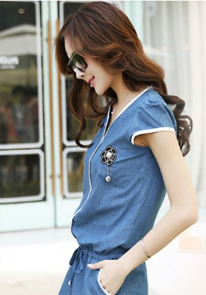Slim Fit Denim Short Dress