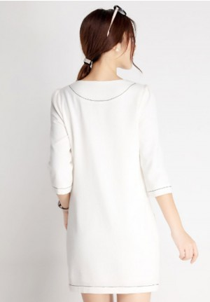 Polished White Dress with Pocket