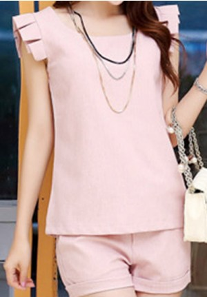Sweet Wing Pink Sleeves Shirt and Shorts Set