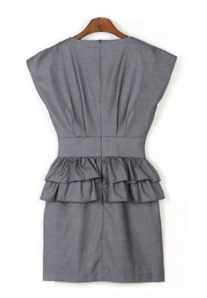 Tailored Gray Flounced Office Dress Set