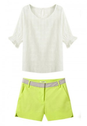 Round Neck White Shirt with Green Shorts Set