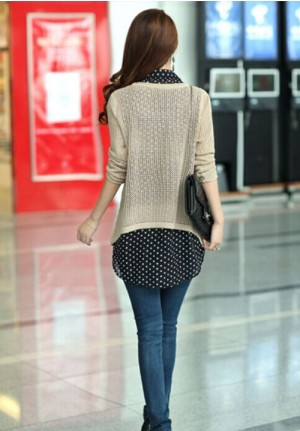 Long Sleeved Sweater with Sleeveless Chiffon Blouse Set