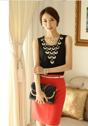 Sequined Chiffon Sleeveless Shirt