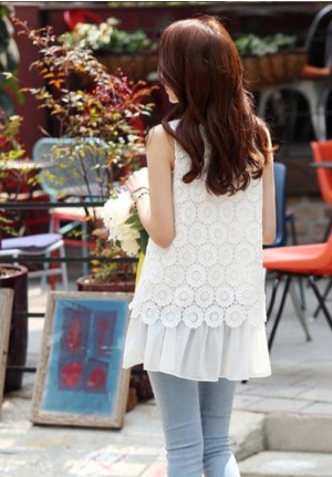 Round Neck Lace Chiffon Sleeveless Shirt