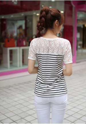 White Laced Top with B&W Stripes Tee
